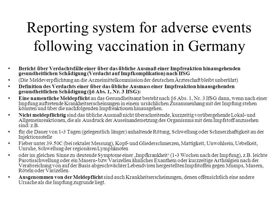 Reporting system for adverse events following vaccination in Germany Bericht über Verdachtsfälle einer über das übliche Ausmaß einer Impfreaktion hinausgehenden gesundheitlichen Schädigung (Verdacht auf Impfkomplikation) nach IfSG (Die Meldeverpflichtung an die Arzneimittelkommission der deutschen Ärzteschaft bleibt unberührt) Definition des Verdachts einer über das übliche Ausmass einer Impfreaktion hinausgehenden gesundheitlichen Schädigung (§6 Abs.