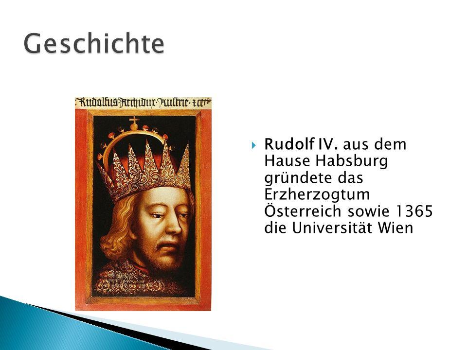 Rudolf IV. aus dem Hause Habsburg gründete das Erzherzogtum Österreich sowie 1365 die Universität Wien