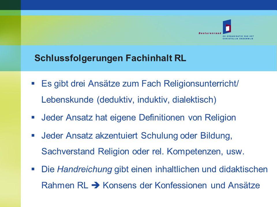 Schlussfolgerungen Fachinhalt RL Es gibt drei Ansätze zum Fach Religionsunterricht/ Lebenskunde (deduktiv, induktiv, dialektisch) Jeder Ansatz hat eig