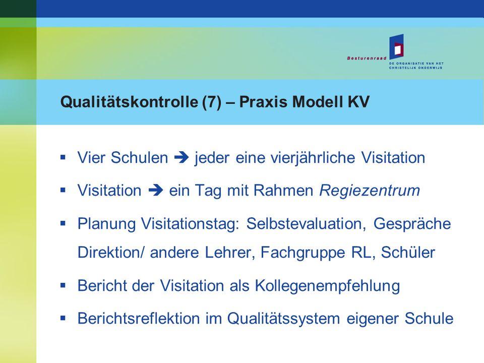 Qualitätskontrolle (7) – Praxis Modell KV Vier Schulen jeder eine vierjährliche Visitation Visitation ein Tag mit Rahmen Regiezentrum Planung Visitati