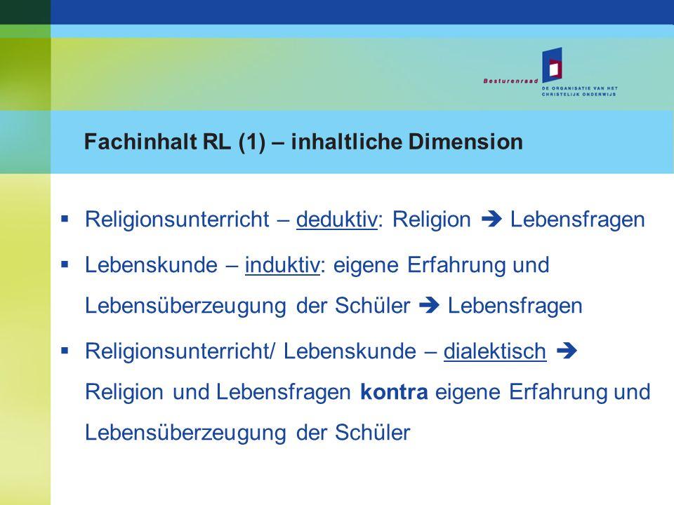 Fachinhalt RL (1) – inhaltliche Dimension Religionsunterricht – deduktiv: Religion Lebensfragen Lebenskunde – induktiv: eigene Erfahrung und Lebensübe