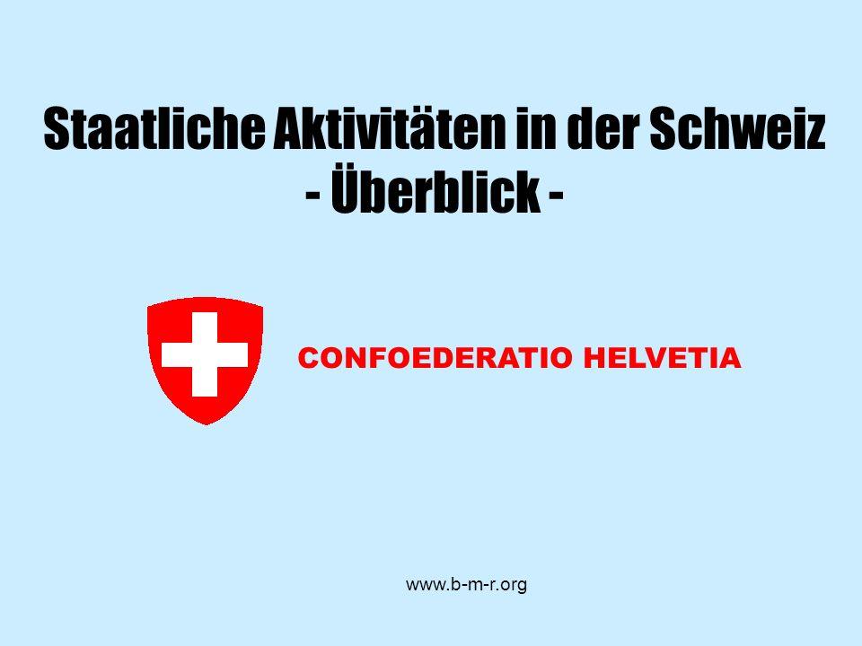 CONFOEDERATIO HELVETIA www.b-m-r.org Staatliche Aktivitäten in der Schweiz - Überblick -