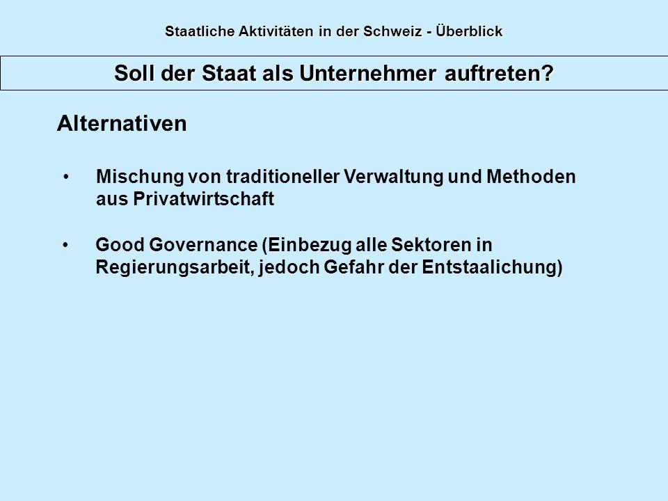 Soll der Staat als Unternehmer auftreten? Alternativen Mischung von traditioneller Verwaltung und Methoden aus Privatwirtschaft Good Governance (Einbe