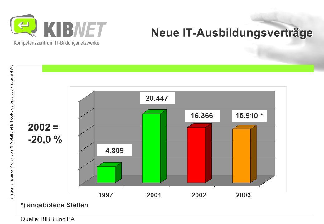Ein gemeinsames Projekt von IG Metall und BITKOM, gefördert durch das BMBF. Neue IT-Ausbildungsverträge Quelle: BIBB und BA 1997 2001 2002 2003 4.809