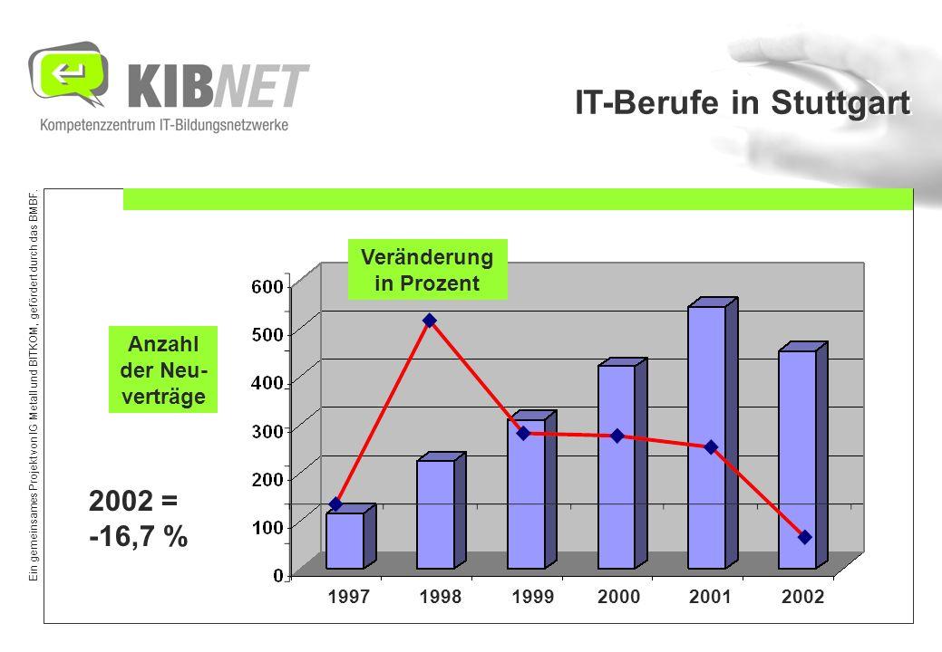 Ein gemeinsames Projekt von IG Metall und BITKOM, gefördert durch das BMBF. 1997 1998 1999 2000 2001 2002 Anzahl der Neu- verträge Veränderung in Proz