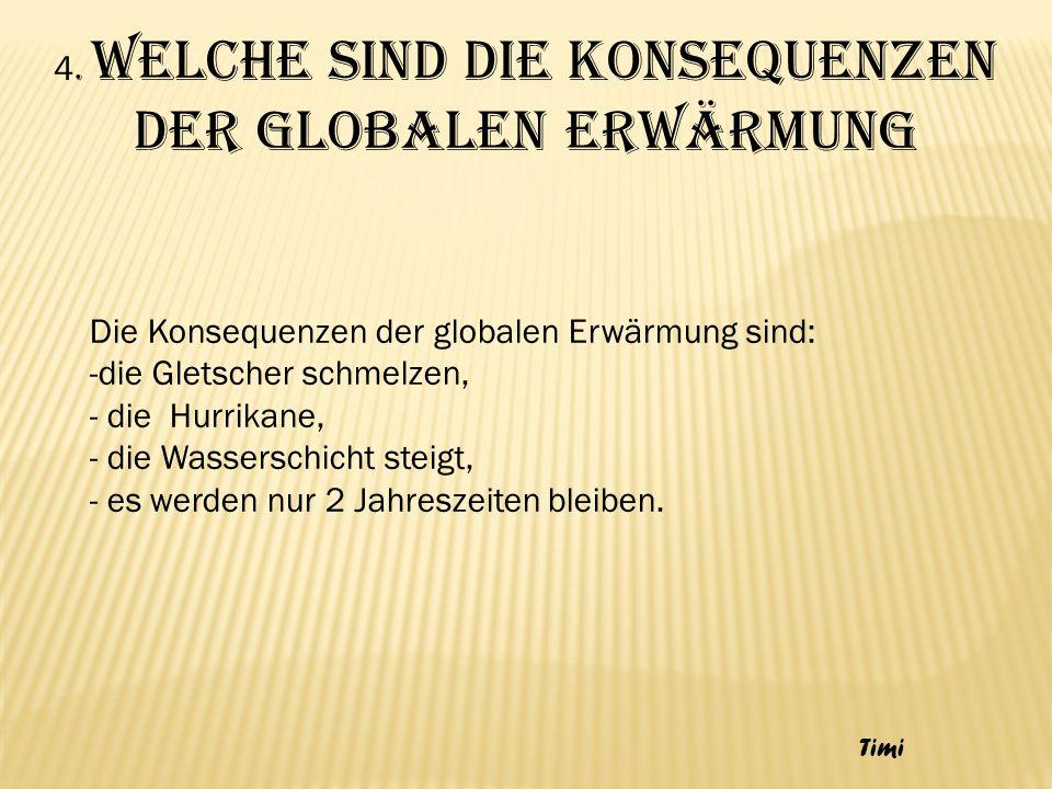 4. Welche sind die Konsequenzen der globalen Erwärmung Die Konsequenzen der globalen Erwärmung sind: -die Gletscher schmelzen, - die Hurrikane, - die