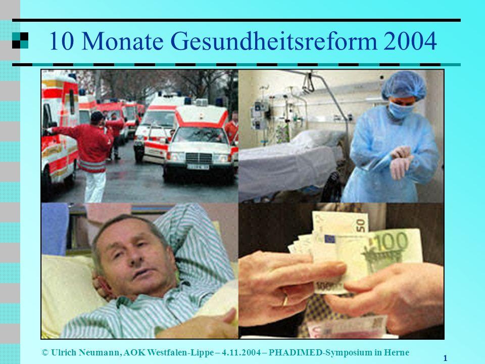1 © Ulrich Neumann, AOK Westfalen-Lippe – 4.11.2004 – PHADIMED-Symposium in Herne 10 Monate Gesundheitsreform 2004