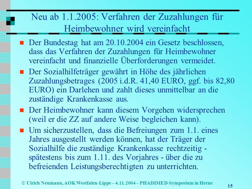 15 © Ulrich Neumann, AOK Westfalen-Lippe – 4.11.2004 – PHADIMED-Symposium in Herne Neu ab 1.1.2005: Verfahren der Zuzahlungen für Heimbewohner wird ve