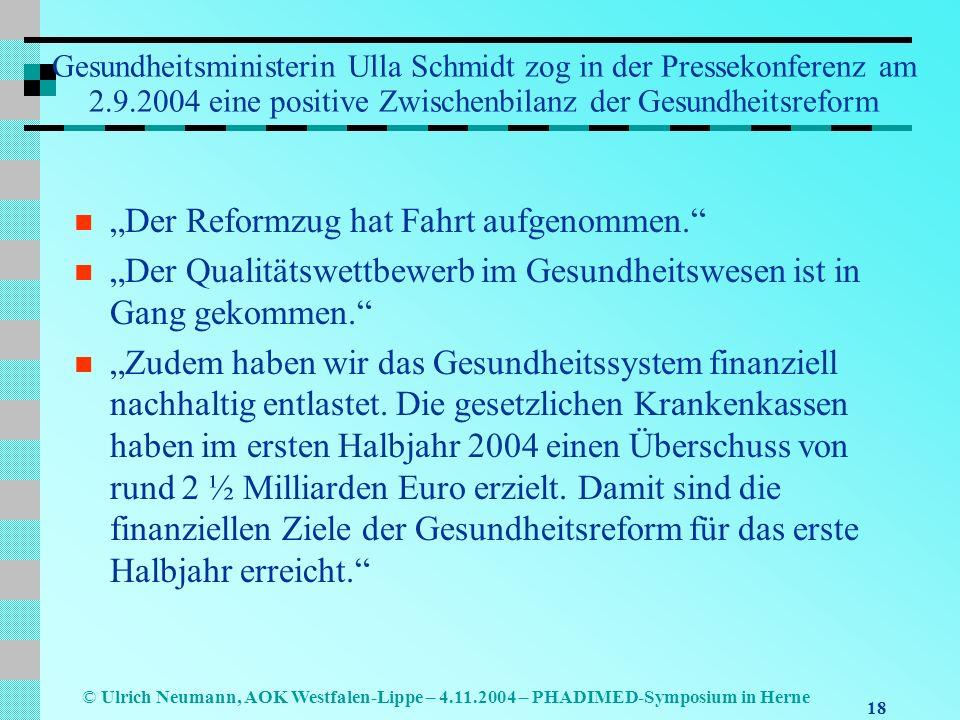 18 © Ulrich Neumann, AOK Westfalen-Lippe – 4.11.2004 – PHADIMED-Symposium in Herne Gesundheitsministerin Ulla Schmidt zog in der Pressekonferenz am 2.