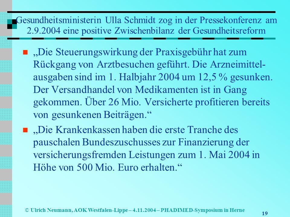 19 © Ulrich Neumann, AOK Westfalen-Lippe – 4.11.2004 – PHADIMED-Symposium in Herne Gesundheitsministerin Ulla Schmidt zog in der Pressekonferenz am 2.
