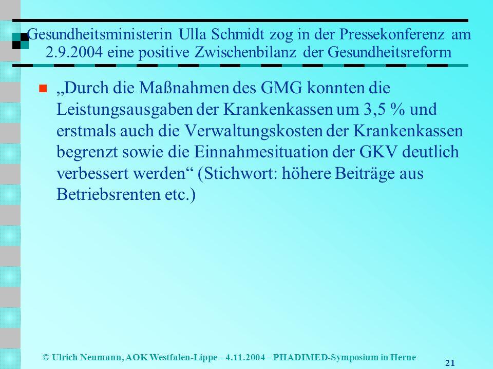 21 © Ulrich Neumann, AOK Westfalen-Lippe – 4.11.2004 – PHADIMED-Symposium in Herne Gesundheitsministerin Ulla Schmidt zog in der Pressekonferenz am 2.