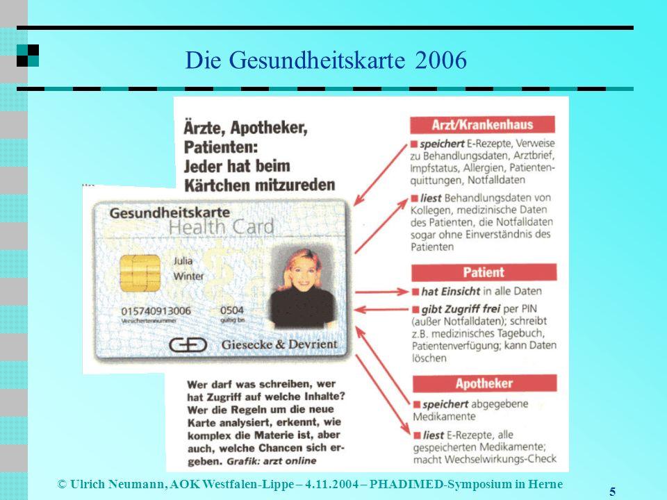 5 © Ulrich Neumann, AOK Westfalen-Lippe – 4.11.2004 – PHADIMED-Symposium in Herne Die Gesundheitskarte 2006