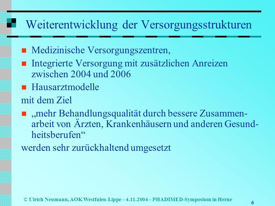 7 © Ulrich Neumann, AOK Westfalen-Lippe – 4.11.2004 – PHADIMED-Symposium in Herne Weiterentwicklung der Versorgungsstrukturen Entsprechendes gilt für die Teilöffnung der Krankenhäuser für die ambulante Versorgung bei hochspezialisierten Leistungen (z.B.