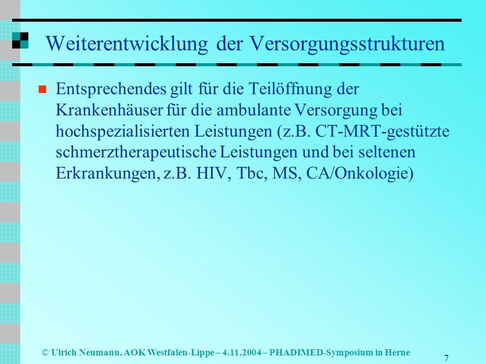 7 © Ulrich Neumann, AOK Westfalen-Lippe – 4.11.2004 – PHADIMED-Symposium in Herne Weiterentwicklung der Versorgungsstrukturen Entsprechendes gilt für