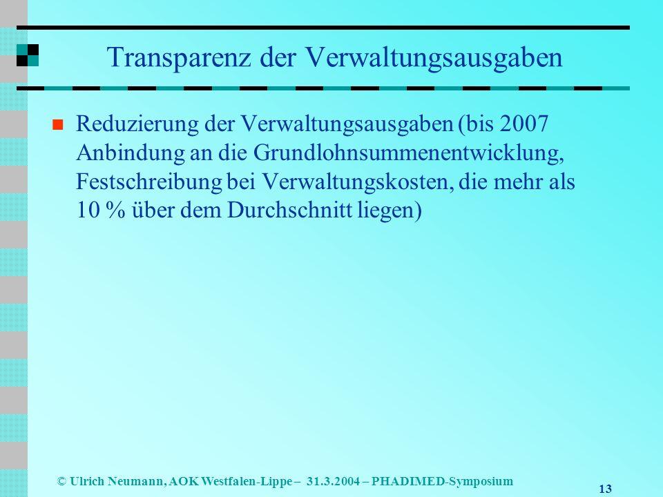 13 © Ulrich Neumann, AOK Westfalen-Lippe – 31.3.2004 – PHADIMED-Symposium Transparenz der Verwaltungsausgaben Reduzierung der Verwaltungsausgaben (bis 2007 Anbindung an die Grundlohnsummenentwicklung, Festschreibung bei Verwaltungskosten, die mehr als 10 % über dem Durchschnitt liegen)