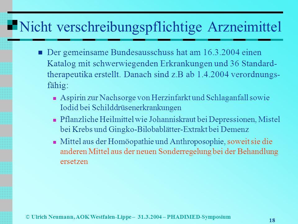 18 © Ulrich Neumann, AOK Westfalen-Lippe – 31.3.2004 – PHADIMED-Symposium Nicht verschreibungspflichtige Arzneimittel Der gemeinsame Bundesausschuss hat am 16.3.2004 einen Katalog mit schwerwiegenden Erkrankungen und 36 Standard- therapeutika erstellt.