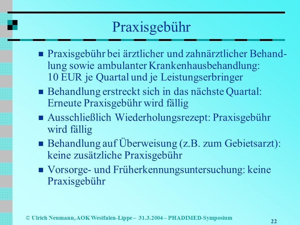 22 © Ulrich Neumann, AOK Westfalen-Lippe – 31.3.2004 – PHADIMED-Symposium Praxisgebühr Praxisgebühr bei ärztlicher und zahnärztlicher Behand- lung sowie ambulanter Krankenhausbehandlung: 10 EUR je Quartal und je Leistungserbringer Behandlung erstreckt sich in das nächste Quartal: Erneute Praxisgebühr wird fällig Ausschließlich Wiederholungsrezept: Praxisgebühr wird fällig Behandlung auf Überweisung (z.B.