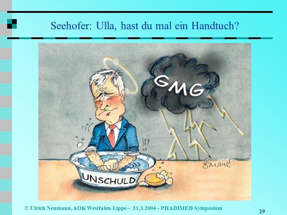 29 © Ulrich Neumann, AOK Westfalen-Lippe – 31.3.2004 – PHADIMED-Symposium Seehofer: Ulla, hast du mal ein Handtuch?