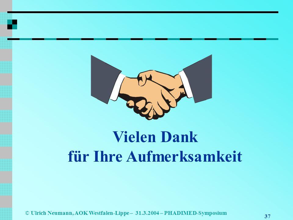 37 © Ulrich Neumann, AOK Westfalen-Lippe – 31.3.2004 – PHADIMED-Symposium Vielen Dank für Ihre Aufmerksamkeit