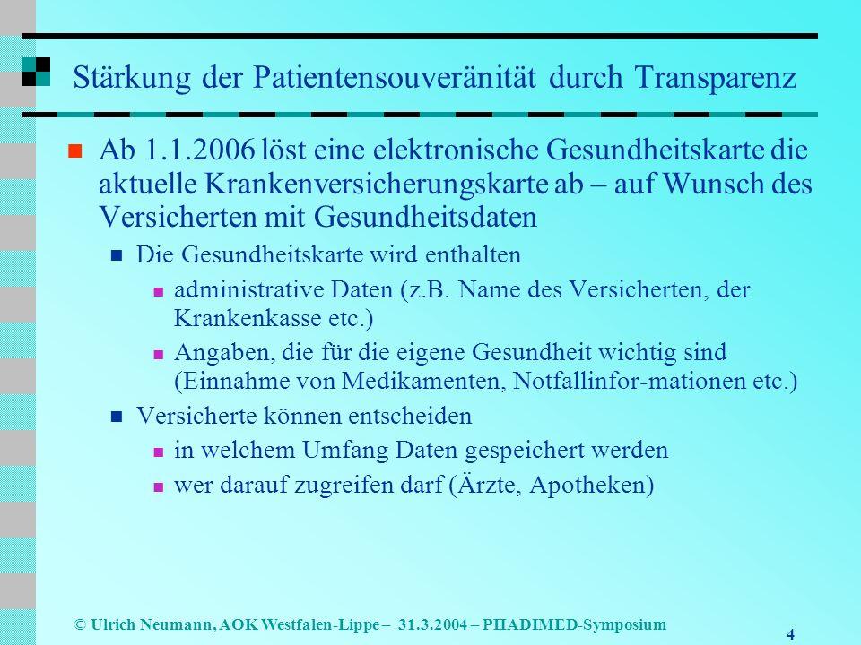 4 © Ulrich Neumann, AOK Westfalen-Lippe – 31.3.2004 – PHADIMED-Symposium Stärkung der Patientensouveränität durch Transparenz Ab 1.1.2006 löst eine elektronische Gesundheitskarte die aktuelle Krankenversicherungskarte ab – auf Wunsch des Versicherten mit Gesundheitsdaten Die Gesundheitskarte wird enthalten administrative Daten (z.B.