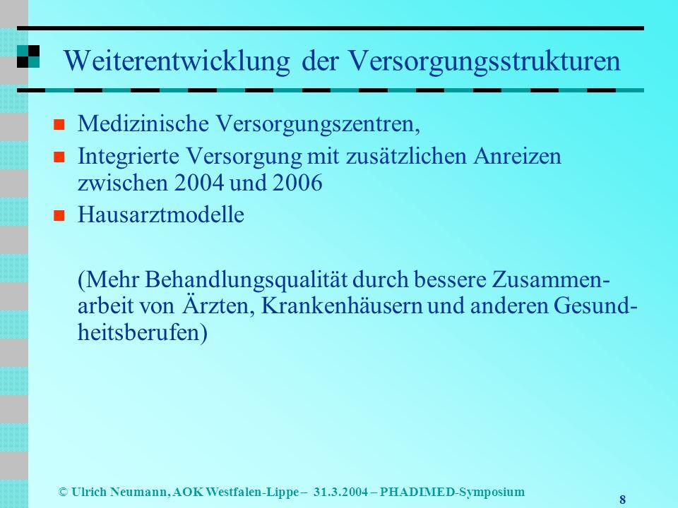 8 © Ulrich Neumann, AOK Westfalen-Lippe – 31.3.2004 – PHADIMED-Symposium Weiterentwicklung der Versorgungsstrukturen Medizinische Versorgungszentren, Integrierte Versorgung mit zusätzlichen Anreizen zwischen 2004 und 2006 Hausarztmodelle (Mehr Behandlungsqualität durch bessere Zusammen- arbeit von Ärzten, Krankenhäusern und anderen Gesund- heitsberufen)