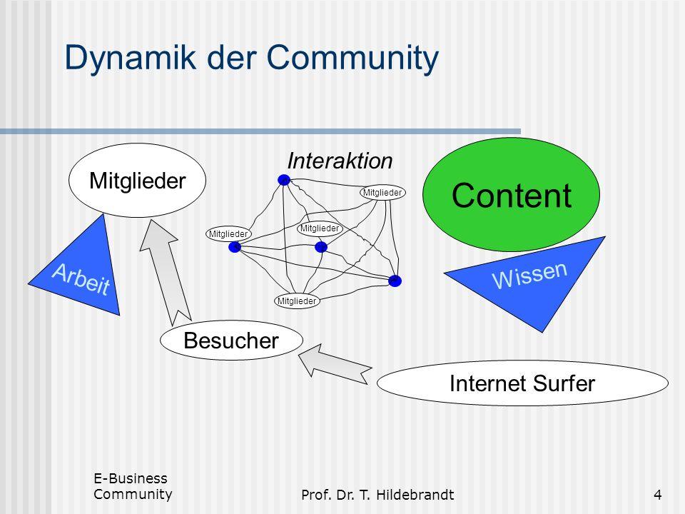 Prof. Dr. T. Hildebrandt4 Dynamik der Community Mitglieder Arbeit Content Interaktion Mitglieder Internet Surfer Besucher Wissen