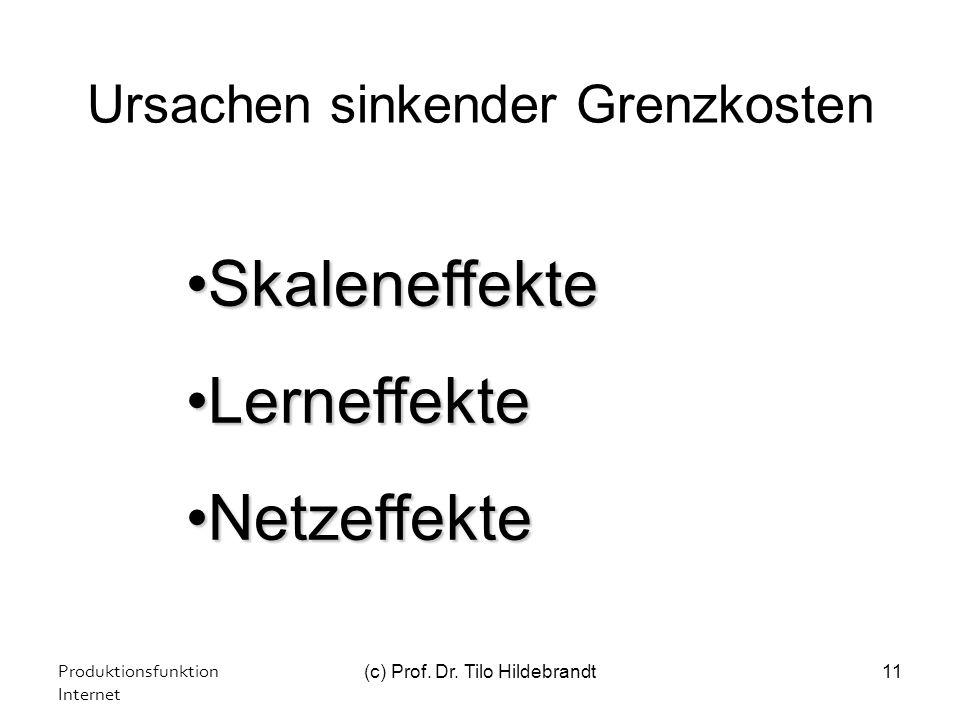 Ursachen sinkender Grenzkosten Produktionsfunktion Internet (c) Prof. Dr. Tilo Hildebrandt11 SkaleneffekteSkaleneffekte LerneffekteLerneffekte Netzeff