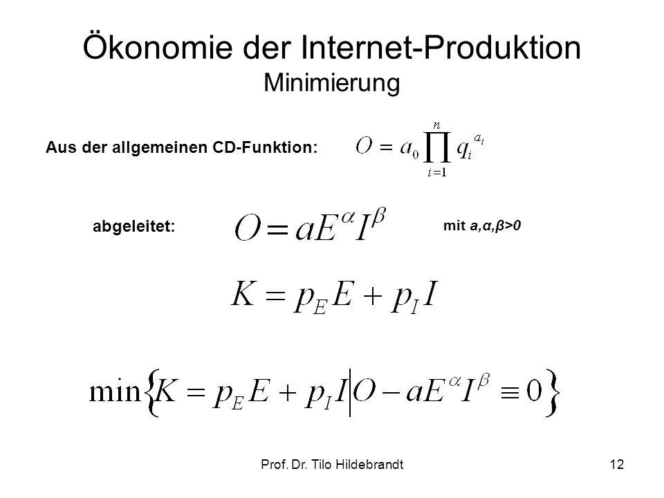 Ökonomie der Internet-Produktion Minimierung mit a,α,β>0 Aus der allgemeinen CD-Funktion: abgeleitet: 12Prof. Dr. Tilo Hildebrandt