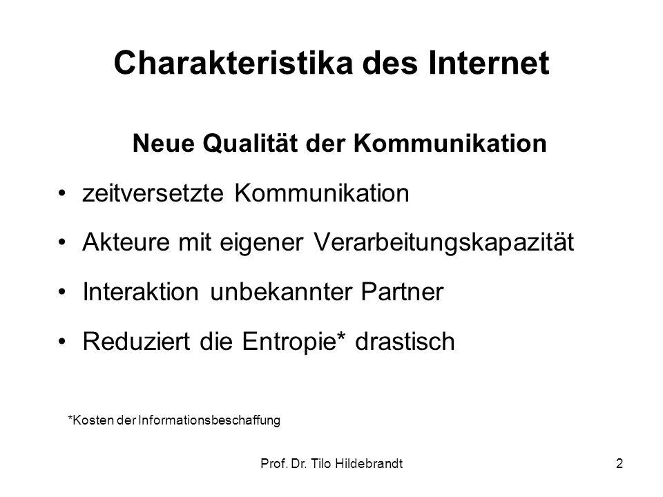 Charakteristika des Internet Neue Qualität der Kommunikation zeitversetzte Kommunikation Akteure mit eigener Verarbeitungskapazität Interaktion unbeka