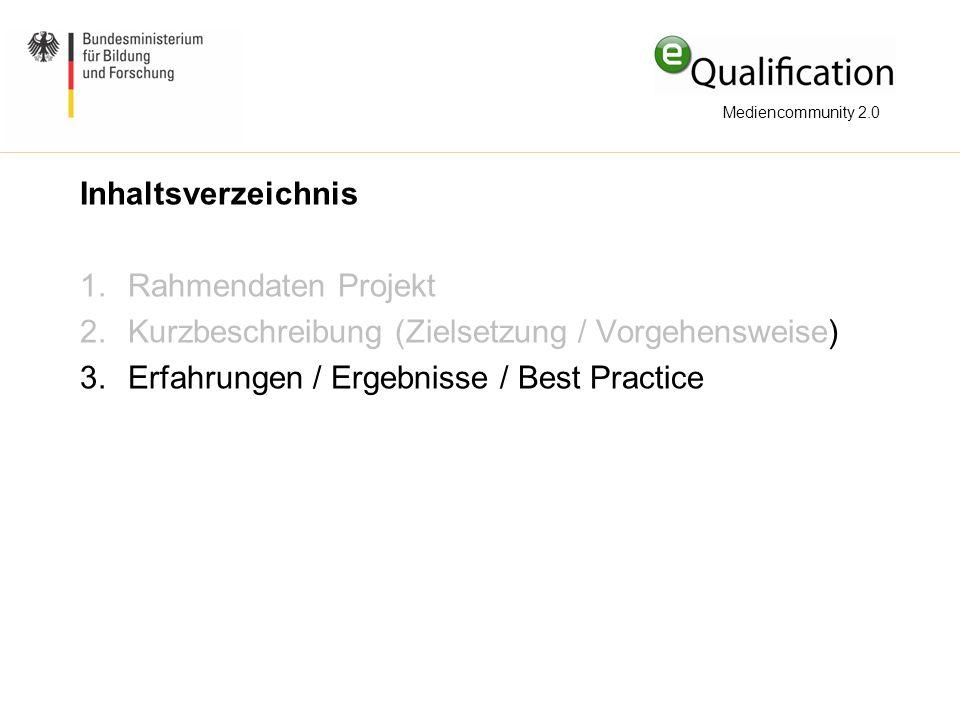 Inhaltsverzeichnis 1.Rahmendaten Projekt 2.Kurzbeschreibung (Zielsetzung / Vorgehensweise) 3.Erfahrungen / Ergebnisse / Best Practice Mediencommunity