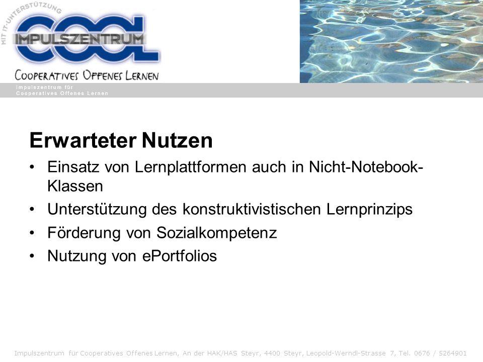 Impulszentrum für Cooperatives Offenes Lernen, An der HAK/HAS Steyr, 4400 Steyr, Leopold-Werndl-Strasse 7, Tel. 0676 / 5264901 Erwarteter Nutzen Einsa