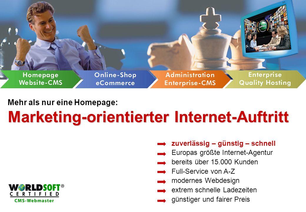 Marketing-orientierter Internet-Auftritt Mehr als nur eine Homepage: Marketing-orientierter Internet-Auftritt zuverlässig – günstig – schnell Europas