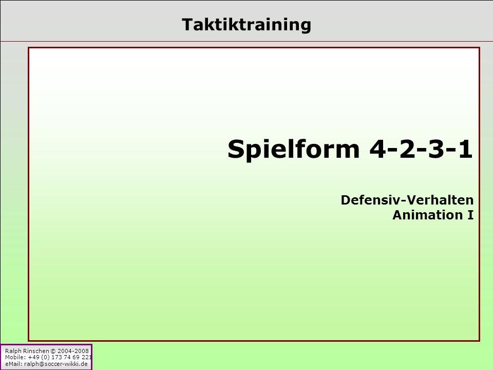 Ralph Rinschen © 2004-2008 Mobile: +49 (0) 173 74 69 221 eMail: ralph@soccer-wikki.de Taktiktraining Spielform 4-2-3-1 Defensiv-Verhalten Animation I