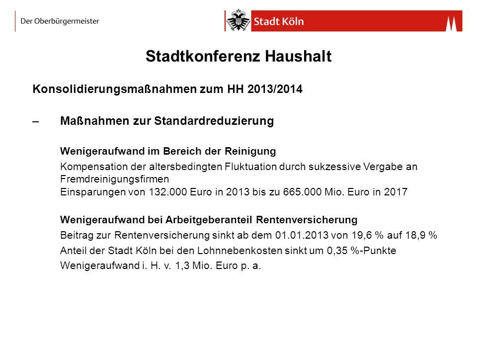 Stadtkonferenz Haushalt Konsolidierungsmaßnahmen zum HH 2013/2014 –Maßnahmen zur Standardreduzierung Wenigeraufwand im Bereich der Reinigung Kompensat