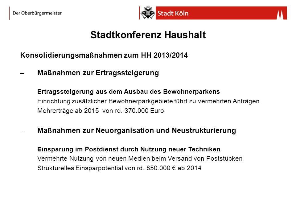 Stadtkonferenz Haushalt Konsolidierungsmaßnahmen zum HH 2013/2014 –Maßnahmen zur Ertragssteigerung Ertragssteigerung aus dem Ausbau des Bewohnerparken