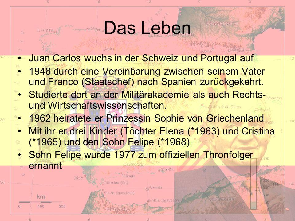 Das Leben Juan Carlos wuchs in der Schweiz und Portugal auf 1948 durch eine Vereinbarung zwischen seinem Vater und Franco (Staatschef) nach Spanien zu