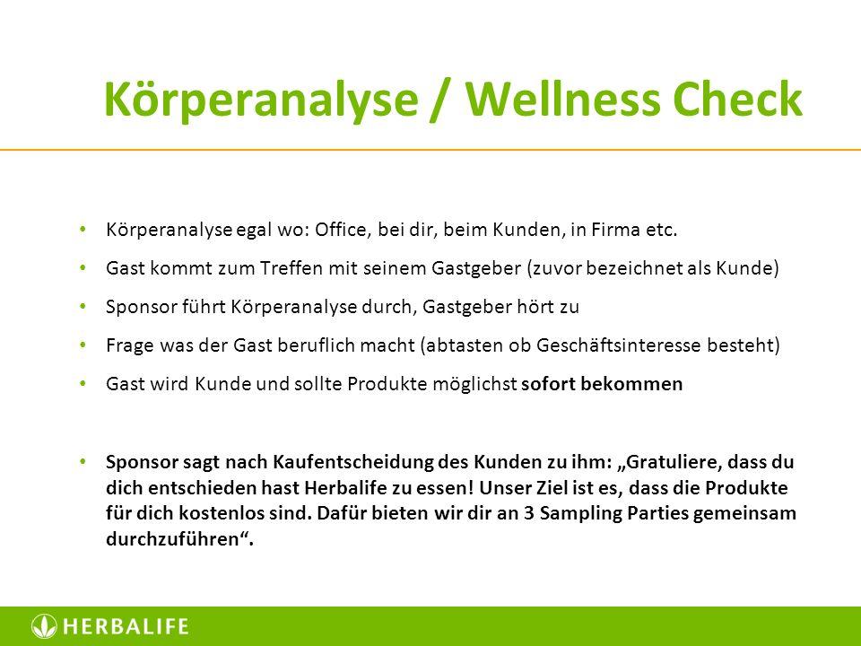 Körperanalyse / Wellness Check Körperanalyse egal wo: Office, bei dir, beim Kunden, in Firma etc. Gast kommt zum Treffen mit seinem Gastgeber (zuvor b