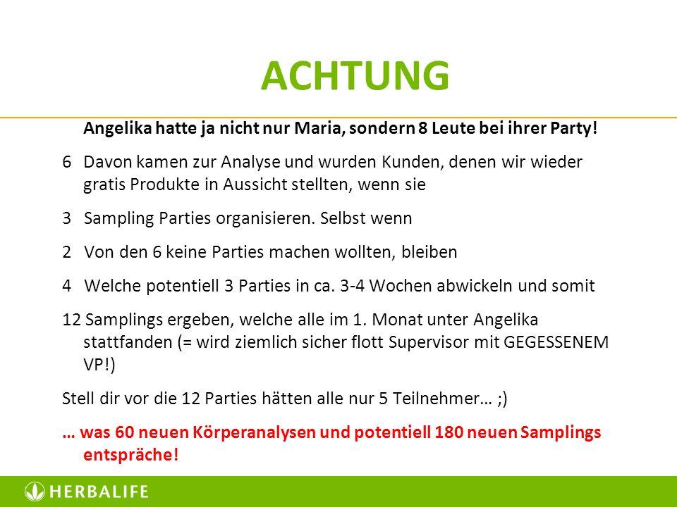 ACHTUNG Angelika hatte ja nicht nur Maria, sondern 8 Leute bei ihrer Party! 6 Davon kamen zur Analyse und wurden Kunden, denen wir wieder gratis Produ