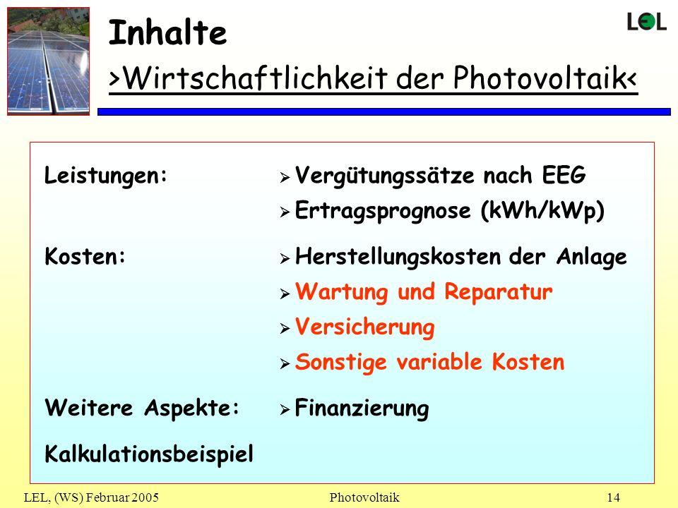 LEL, (WS) Februar 2005Photovoltaik14 Inhalte >Wirtschaftlichkeit der Photovoltaik< Vergütungssätze nach EEG Ertragsprognose (kWh/kWp) Leistungen: Hers