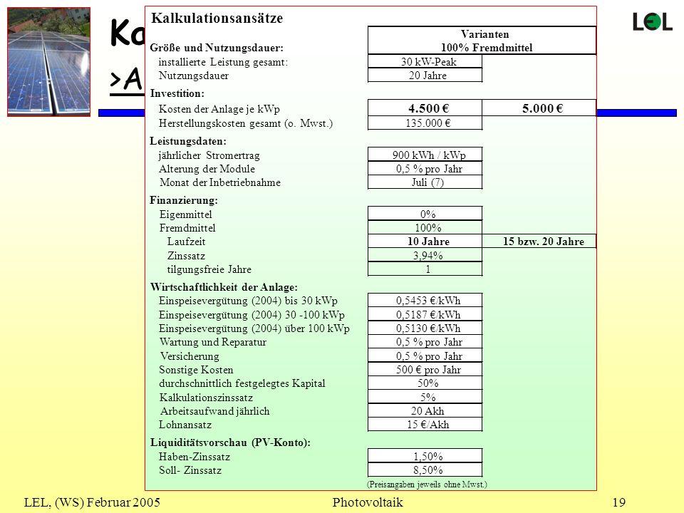 LEL, (WS) Februar 2005Photovoltaik19 Kalkulation >Ansätze<