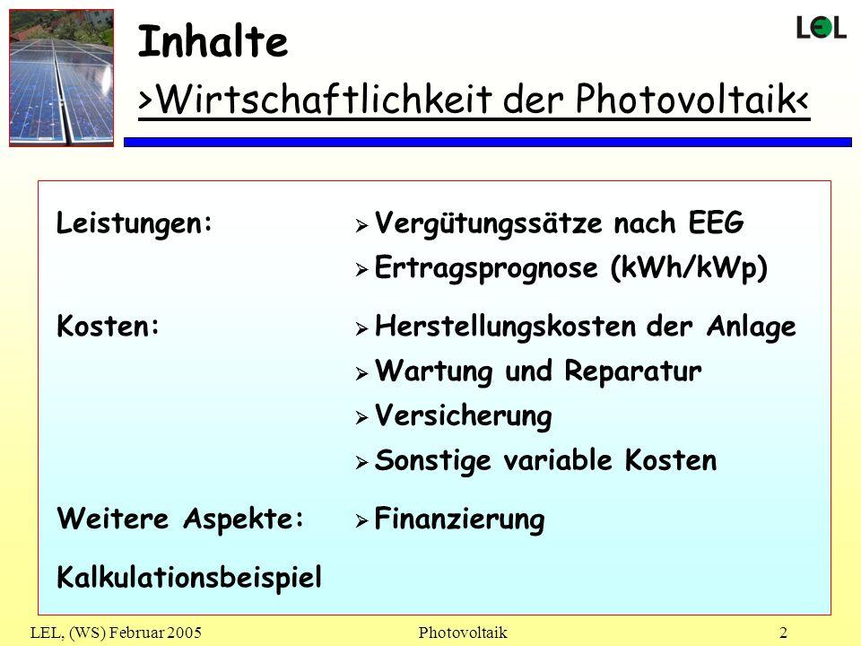 LEL, (WS) Februar 2005Photovoltaik23 >ENDE der Präsentation< Photovoltaik Vielen Dank für die Aufmerksamkeit .