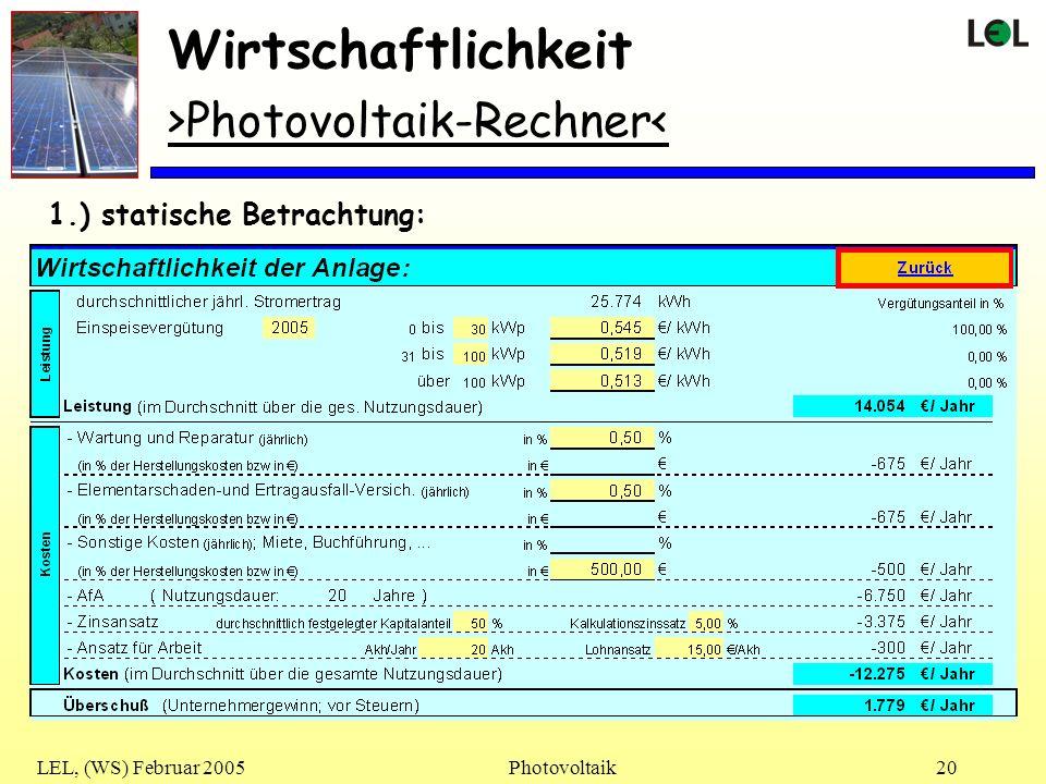 LEL, (WS) Februar 2005Photovoltaik20 Wirtschaftlichkeit >Photovoltaik-Rechner< 1.) statische Betrachtung: