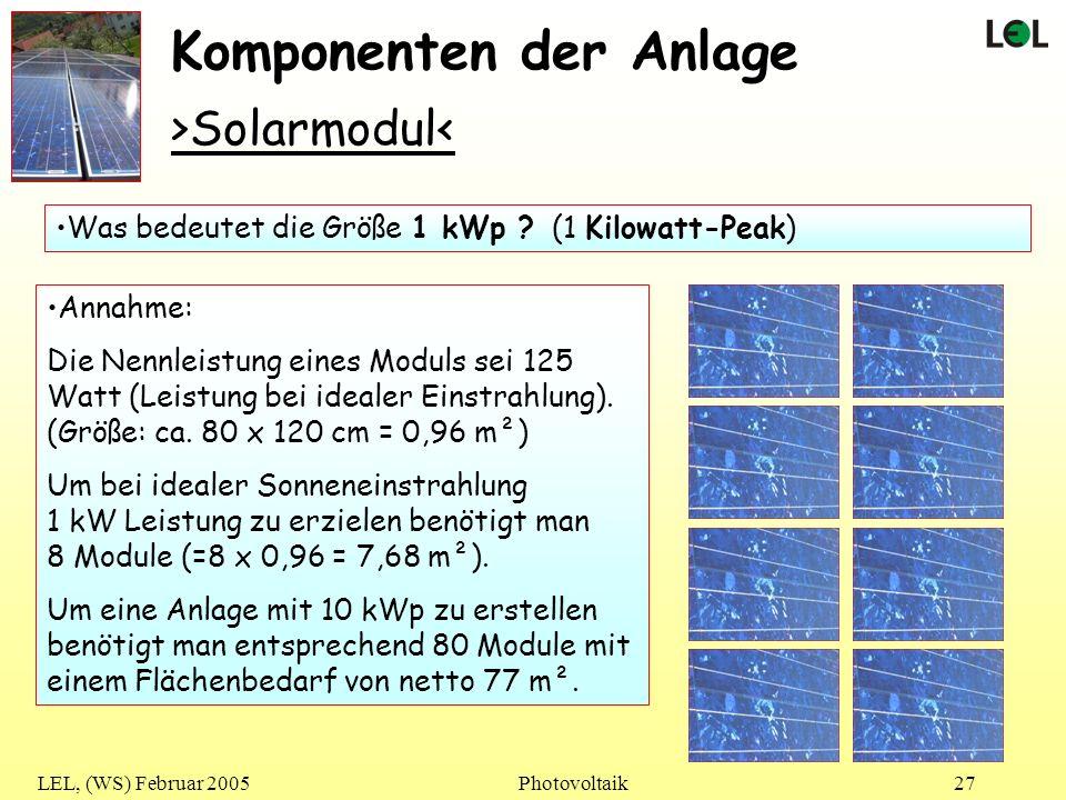LEL, (WS) Februar 2005Photovoltaik27 Komponenten der Anlage Was bedeutet die Größe 1 kWp ? (1 Kilowatt-Peak) >Solarmodul< Annahme: Die Nennleistung ei