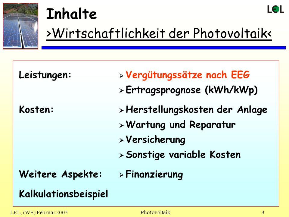 LEL, (WS) Februar 2005Photovoltaik3 Inhalte >Wirtschaftlichkeit der Photovoltaik< Vergütungssätze nach EEG Ertragsprognose (kWh/kWp) Leistungen: Herst