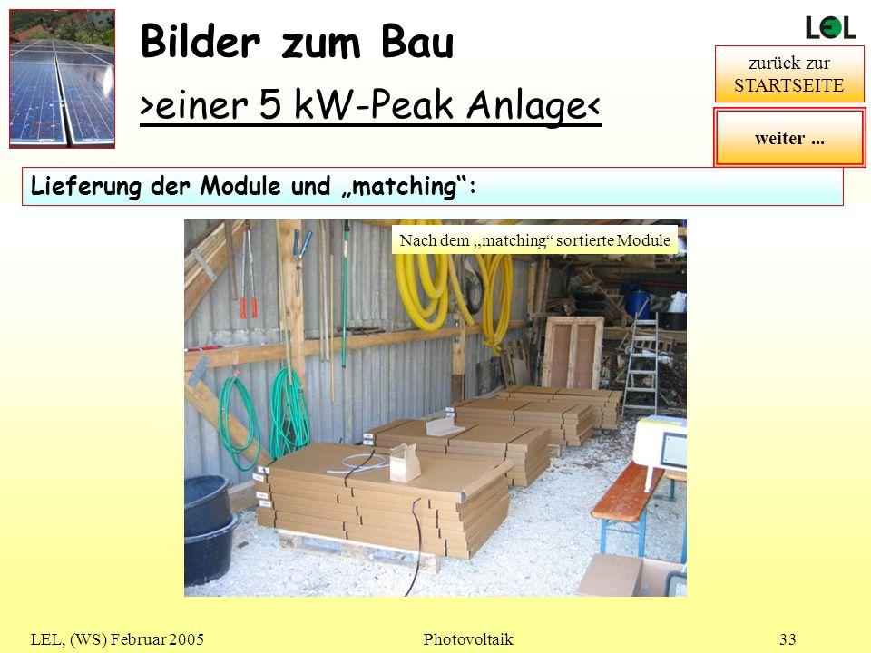 LEL, (WS) Februar 2005Photovoltaik33 Bilder zum Bau >einer 5 kW-Peak Anlage< zurück zur STARTSEITE matching Vorbemerkung: In PV-Anlagen werden meist m