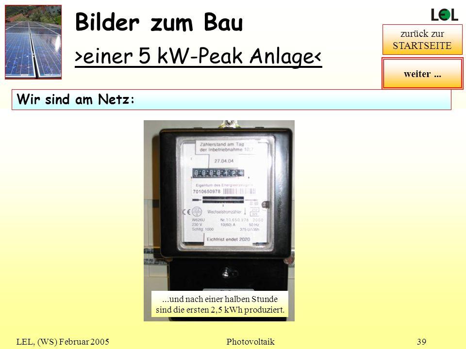 LEL, (WS) Februar 2005Photovoltaik39 Bilder zum Bau >einer 5 kW-Peak Anlage< zurück zur STARTSEITE...der Wechselrichter läuft... Wir sind am Netz:...u
