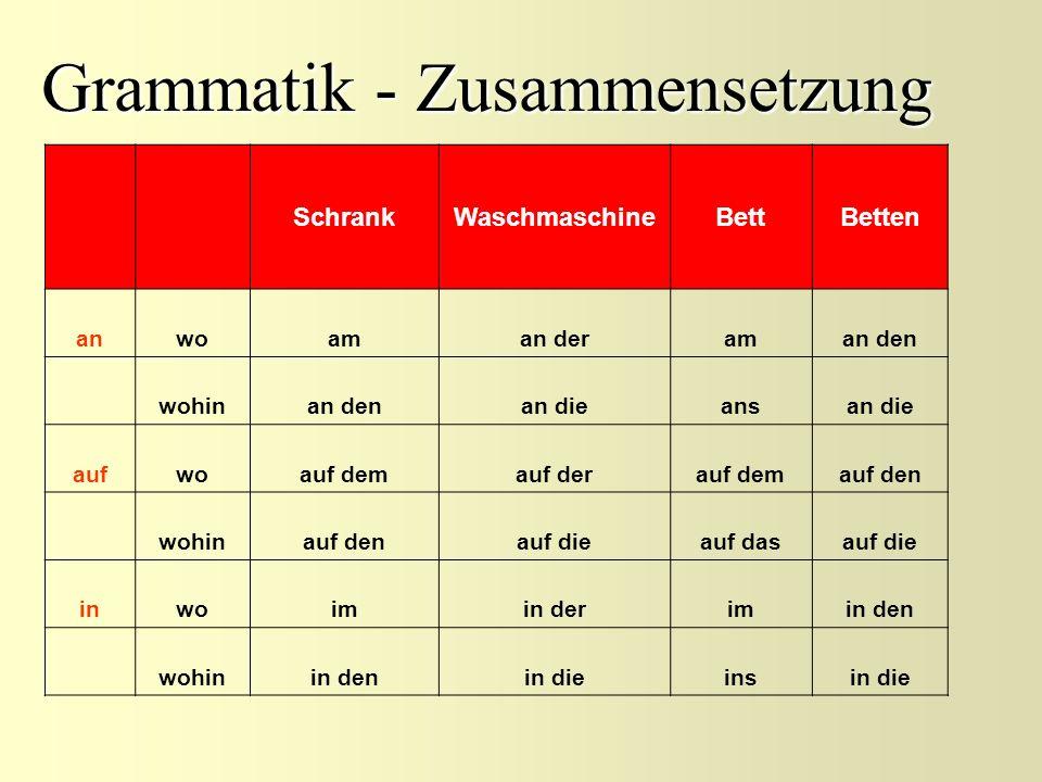 Grammatik - Zusammensetzung SchrankWaschmaschineBettBetten anwoaman deraman den wohinan denan dieansan die aufwoauf demauf derauf demauf den wohinauf