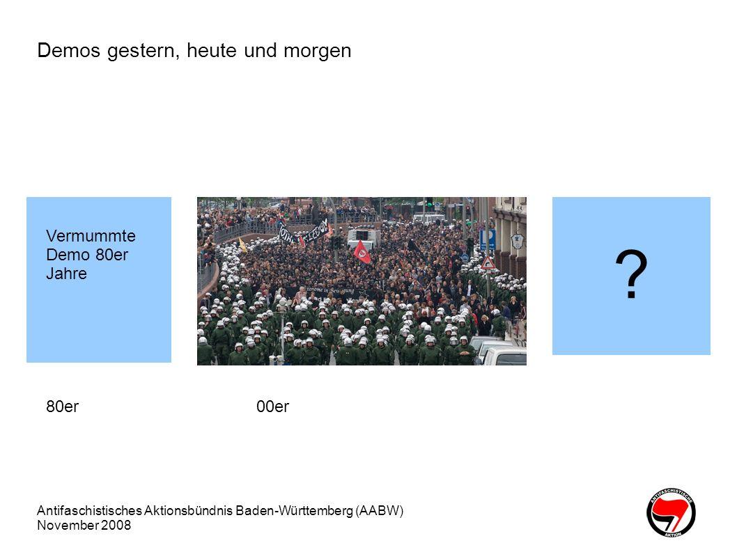Antifaschistisches Aktionsbündnis Baden-Württemberg (AABW) November 2008 Warum ein neues Versammlungsgesetz Innenminsterium: Schutz des wichtigen Bürgerrechts der Versammlungsfreiheit vor dem Missbrauch durch Extremisten Erleichterung für Veranstalter und für die Behörden Rechtskräftige Verordnung gegen Neonazi-Veranstaltungen schaffen, Bsp.: 27.