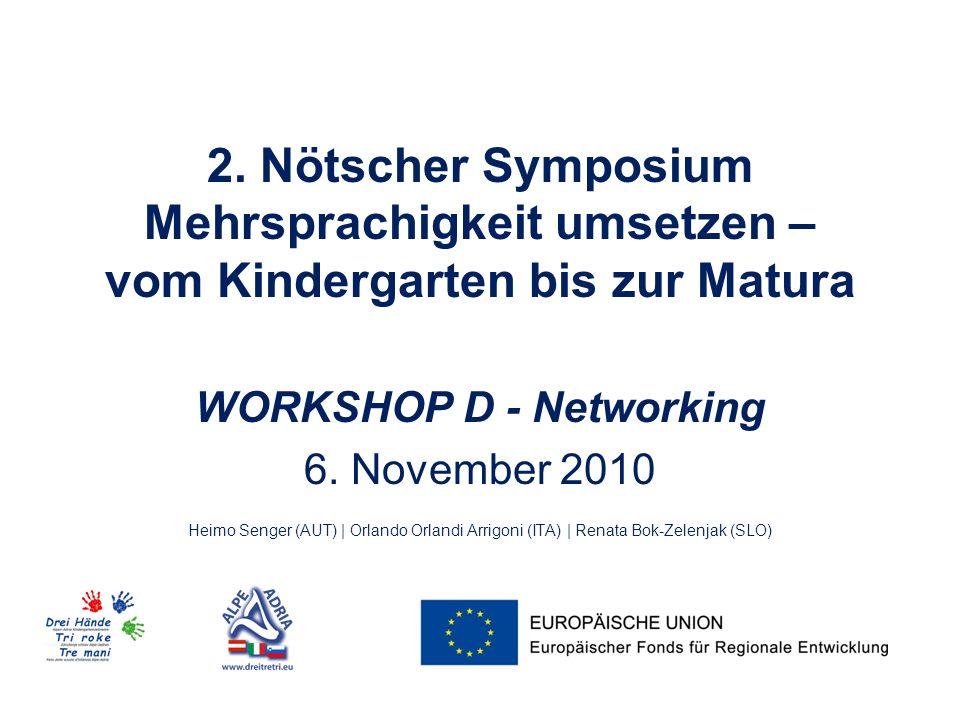 2. Nötscher Symposium Mehrsprachigkeit umsetzen – vom Kindergarten bis zur Matura WORKSHOP D - Networking 6. November 2010 Heimo Senger (AUT) | Orland