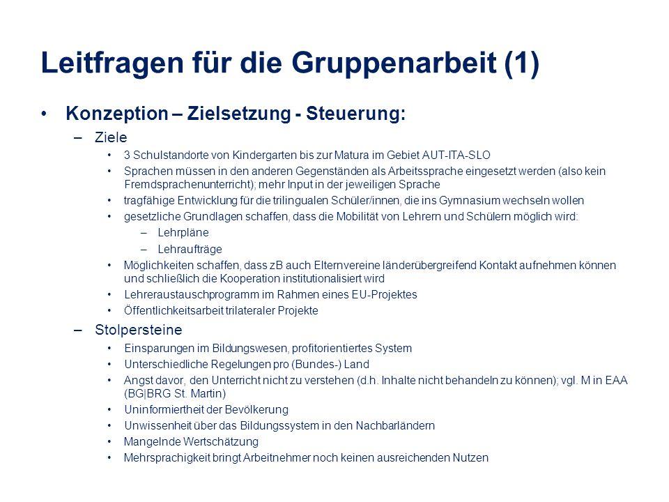 Leitfragen für die Gruppenarbeit (1) Konzeption – Zielsetzung - Steuerung: –Ziele 3 Schulstandorte von Kindergarten bis zur Matura im Gebiet AUT-ITA-S